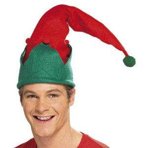 Bonnet long elfe de Noël rouge vert