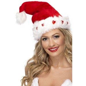 Bonnet de Noël cœurs lumineux