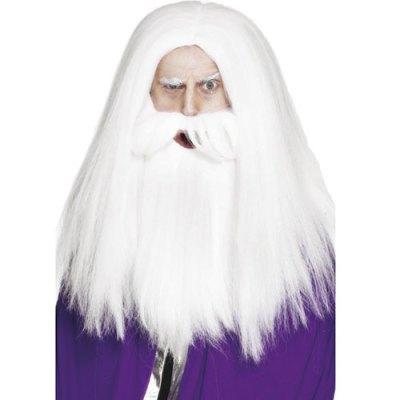 Perruque barbe magicien blanc