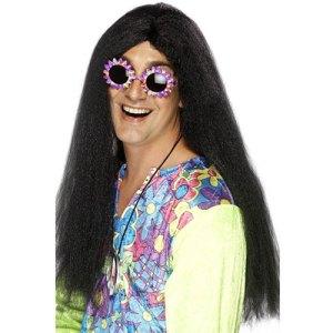 Perruque tendance hippie noire