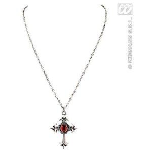 Collier croix gothique pierre rouge