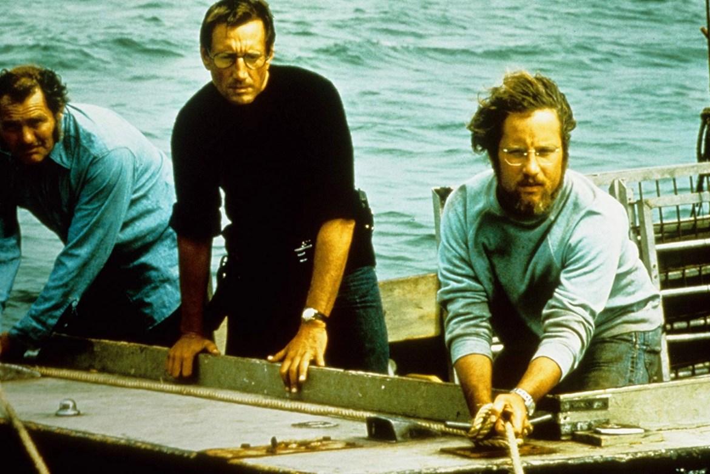 hard Dreyfuss, Roy Scheider, and Robert Shaw in Jaws (1975)
