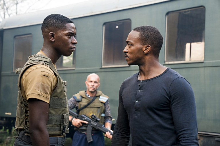 OUTSIDE THE WIRE, Damson Idris as Harp, ​Anthony Mackie ​as ​Leo, in OUTSIDE THE WIRE. Cr. ​Jonathan Prime​/NETFLIX ​© ​2020