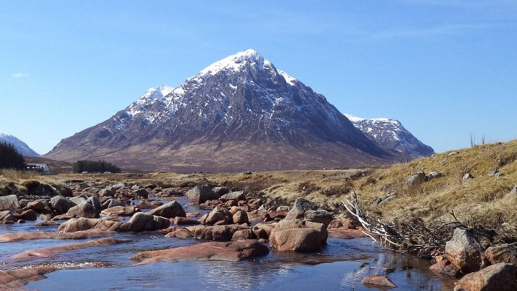 The impressive Buachaille Etive Mor, Glencoe on the way to a Guided ascent of Curved Ridge