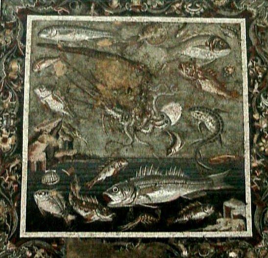 poissons langouste et poulpe  mosaque  Pompi photo  Patricia Carles