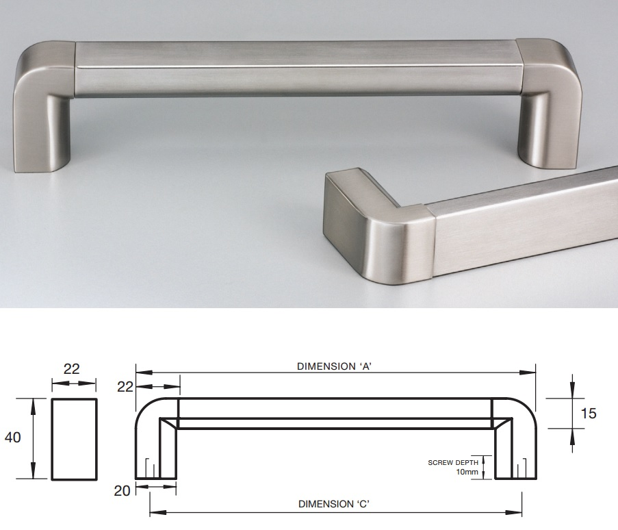 kitchen handles wall mounted cabinets stainless steel square profile with rounded ends