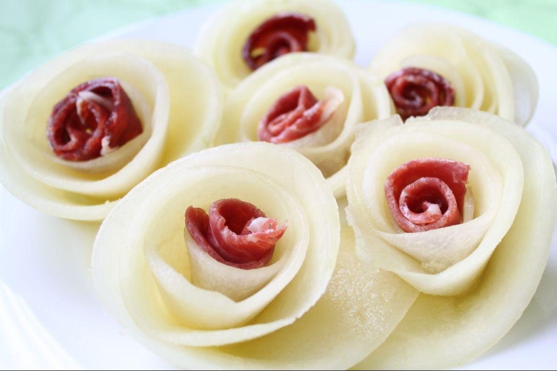 Flores de meln con jamn  lococinarecomlococinarecom