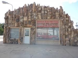 Building made of petrified wood in Lamar Colorado.