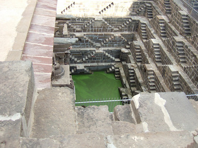 Stepwell with its emareld green pool