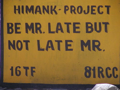 Sign on Leh-Kargil highway