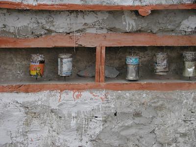 Makeshift Buddhist prayer wheels in Sumur