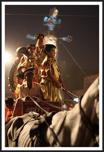 Lord Ramas effigy in the background, skinny horse and child actor-warriors in the foreground