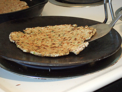 Pan frying the paratha