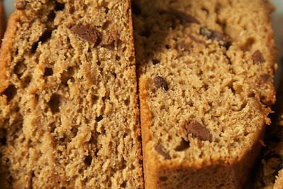 Light and moist banana bread with coffee and cocoa nibs
