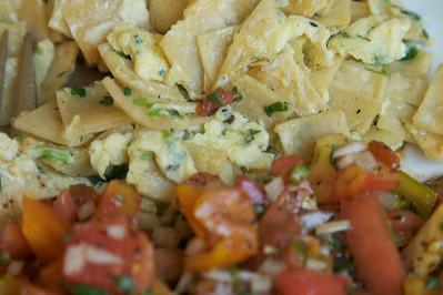 Tortilla and eggs with salsa fresco