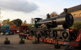 Watercress Line Alresford 20 October 2015 Ex-LSWR T9 30120 on low loader and LMS Hughes Crab 13065 tender