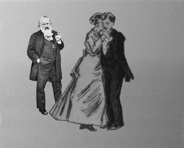 Brahms and waltzing couple © Lodewijk Muns 2019, Johannes Brahms with waltzing couple from Edward Muybridge's zoopraxiscope collection (1893), LoC ID ppmsca.05949
