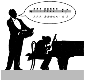 Music Minus Words © Lodewijk Muns 2019, after Böhler's silhouette of Johan Messchaert and Julius Röntgen performing Schumann's Ich grolle nicht.