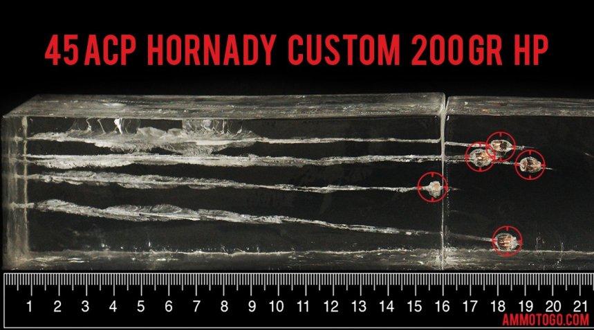 Hornady 45 ACP Gel Test Results