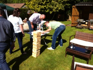 How many Masons does it take… Speculative Masons trying to hone their operative skills ready for Jenga