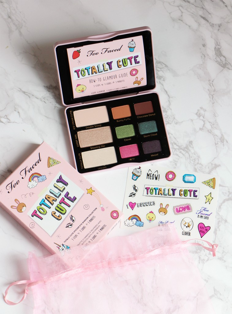 totally cute palette too faced revue swatch