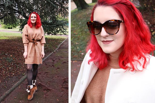 "Ma tenue ""Winter Wonderland"" : robe pull et chaussures à pompons!"