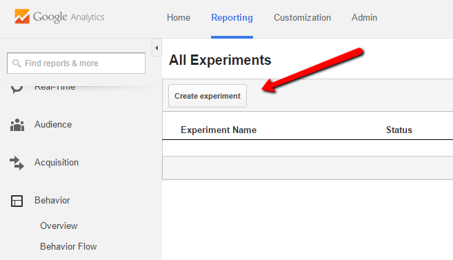 google analytics create experiment