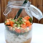Asiatischer Glasnudelsalat mit Saté-Sauce und Pak Choi