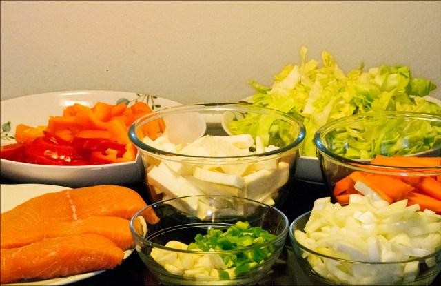 Her er det jeg brukte, du kan selvsagt bruke andre grønnsaker.