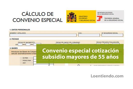 Convenio especial de cotización subsidio mayores de 55 años
