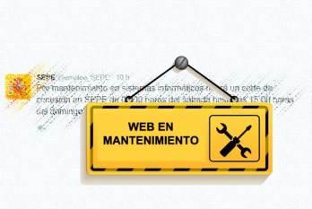 La web del SEPE en mantenimiento