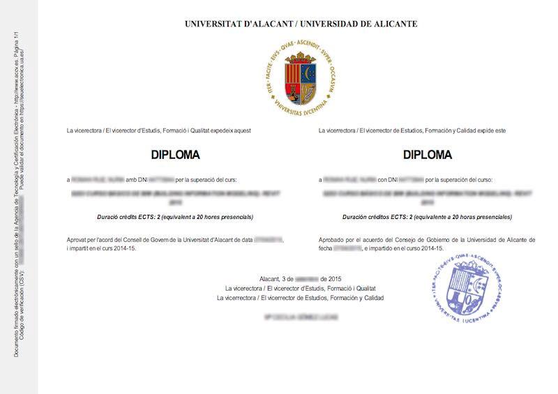 ejemplo de título universitario con código csv
