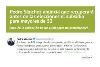 anuncio pedro sanchez 16 de febrero subsidio mayores de 52