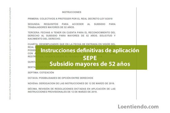 Instrucciones SEPE aplicación normativa subsidio mayores de 52