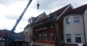 Beam-installation-with-crane