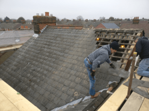 Rear of roof being stripped