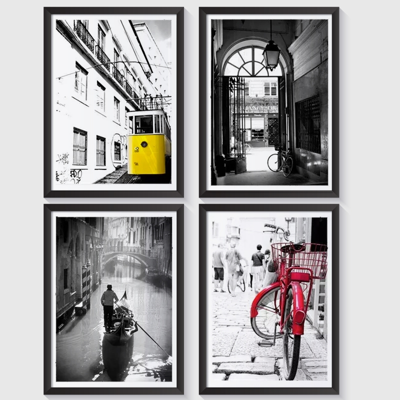 Zestaw 4 Plakatów Z Serii Miasta W Ramie