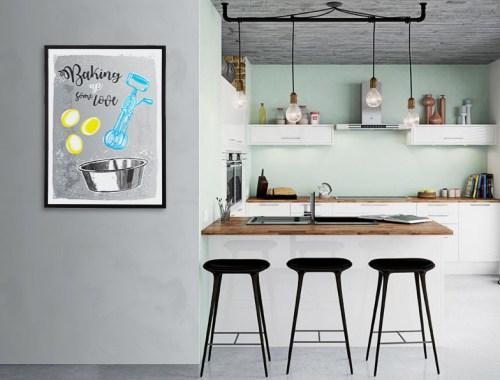 aranżacja kuchni plakaty typograficzne do kuchni dekoracje grafiki z napisami