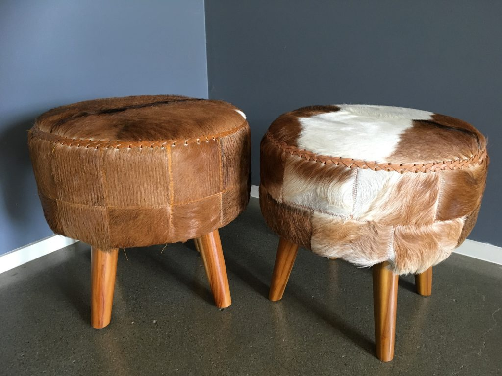 Goat Fur Footstool Ottoman Loft Furniture