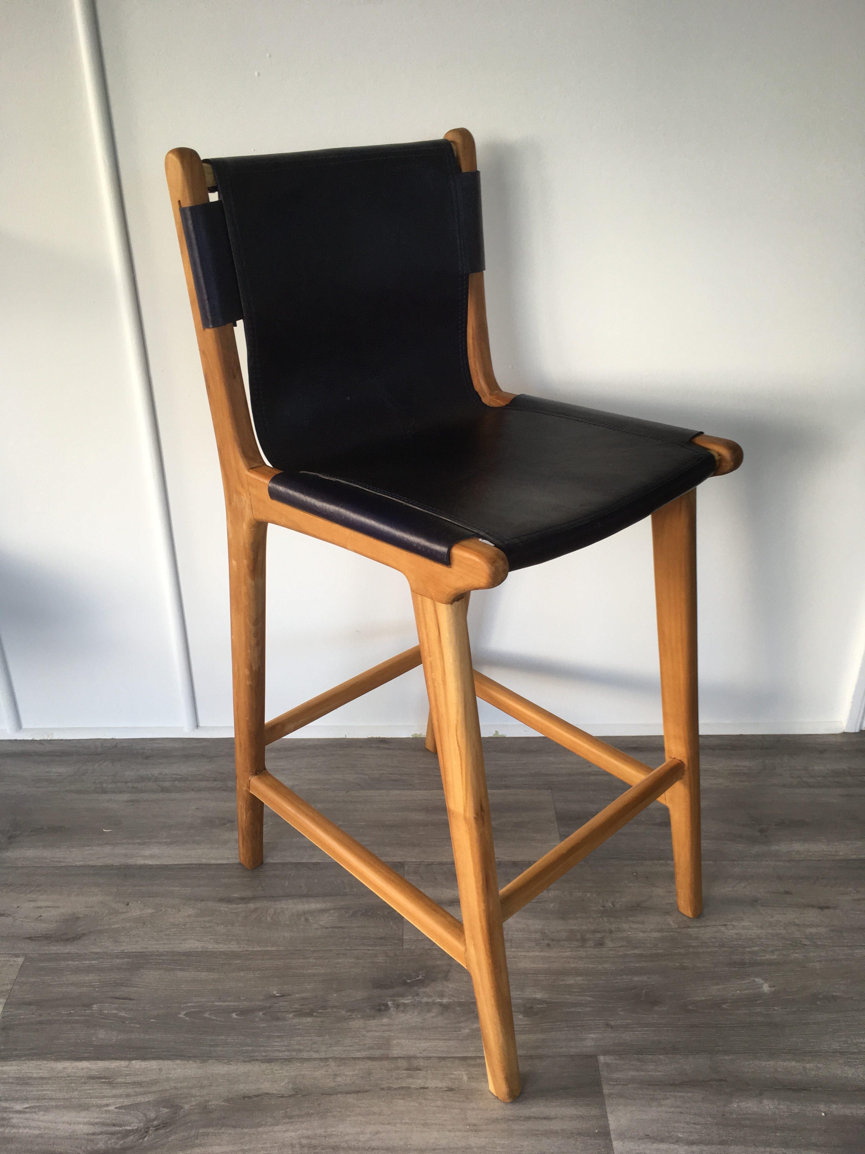 LOFT Leather Sling Bar Stool  Indigo  LOFT Furniture