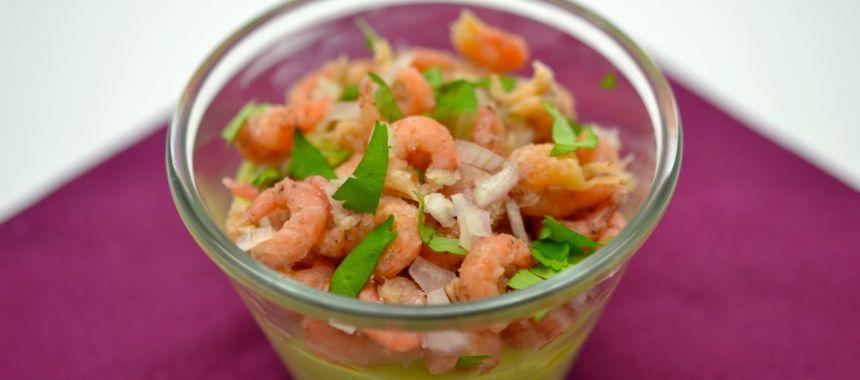 Mise en bouche à l'avocat, yaourt et crevettes grises, avec ou sans siphon…