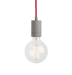 Lampa betonowa Kalla - kolor naturalny z czerwonym kablem w oplocie