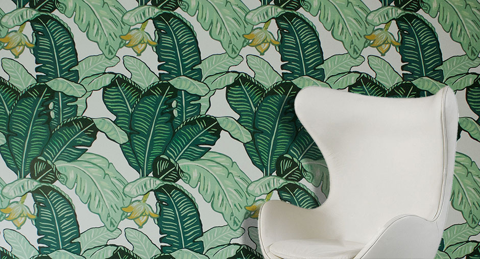 banana leaf wallpaper hand-painted