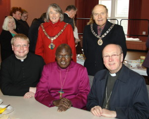 The Mayor of the Borough of Redcar & Cleveland, the Mayor of Loftus, The Rector of Loftus, The Lord Archbishop of York and Archbishop David Hope enjoy post-service hospitality.