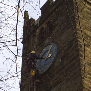 The hands are removed from the clock faces.
