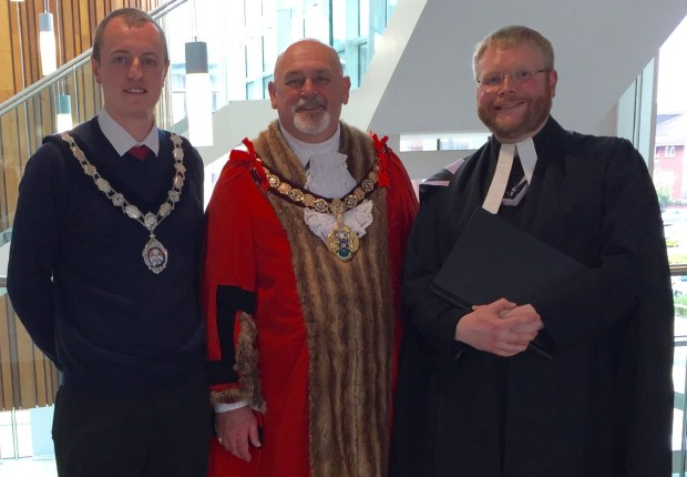 From left to right: The Town Mayor of Loftus Cllr Mr Wayne Davies, The Worshipful the Mayor of the Borough of Redcar and Cleveland Cllr Mr Barry Hunt, and The Reverend the Rector of Loftus-in-Cleveland and Carlin How with Skinningrove Father Adam Gaunt