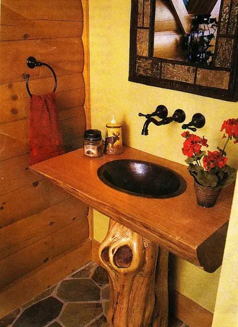 Log Home Pedestal Sink Shaped Like A Log  The Log Home Guide