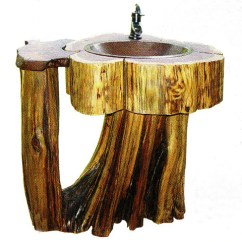 Round Rustic Kitchen Table How To Make A Cabinet Log Home Pedestal Sink Shaped Like | The Guide