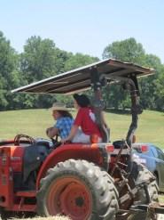 Sabrina on tractor