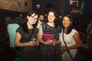 Events director Amanda Elliot greets new faces at the event. Photo: Kyle Kissell